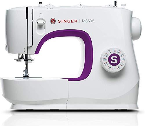 Singer M3505 mechanische Nähmaschine für die täglichen Dinge und unterwegs, White Purple