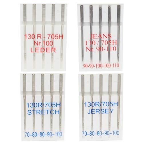 20 Nähmaschinennadeln für Jersey, Leder, Stretch und Jeans