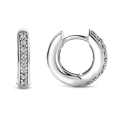 Andi Rose Jewellery - Kreolen für Damen aus 925er Sterlingsilber, mit Strass-Steinen besetzt., weiß1, 1,6 x 1,6 cm (0,63 x 0,63 Zoll)