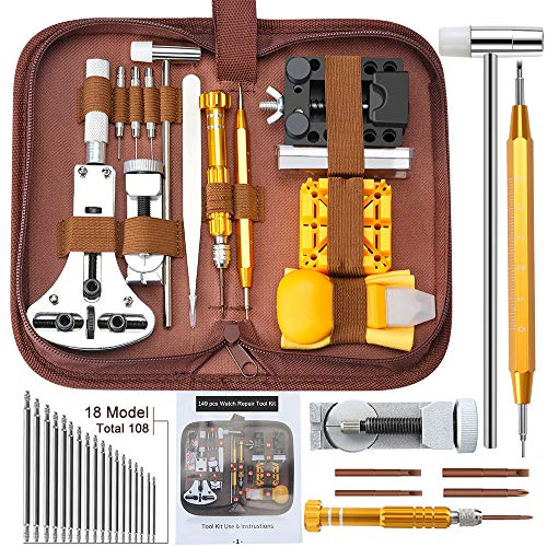 Uhrenwerkzeug Set 149tlg E·Durable Aufgerüstet Uhrmacherwerkzeug Uhr Werkzeug Profi Tasche Reparatur mit Größem Einstellbarem Gehäuseöffner für Die Meisten Uhrens in Nylontasche